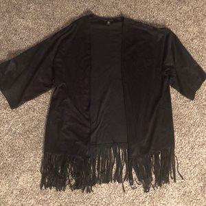 Express Fringe Kimono 3/4 Sleeve Black Oversized